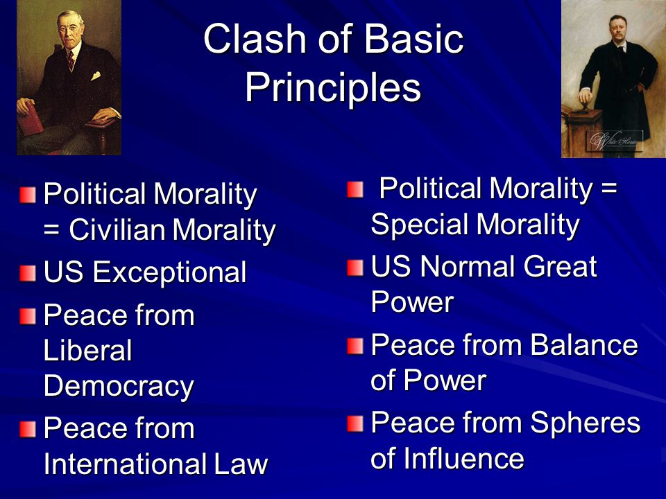 Clash of Basic Principles Political Morality = Civilian Morality US Exceptional Peace from Liberal Democracy Peace from International Law Political Morality = Special Morality Political Morality = Special Morality US Normal Great Power Peace from Balance of Power Peace from Spheres of Influence