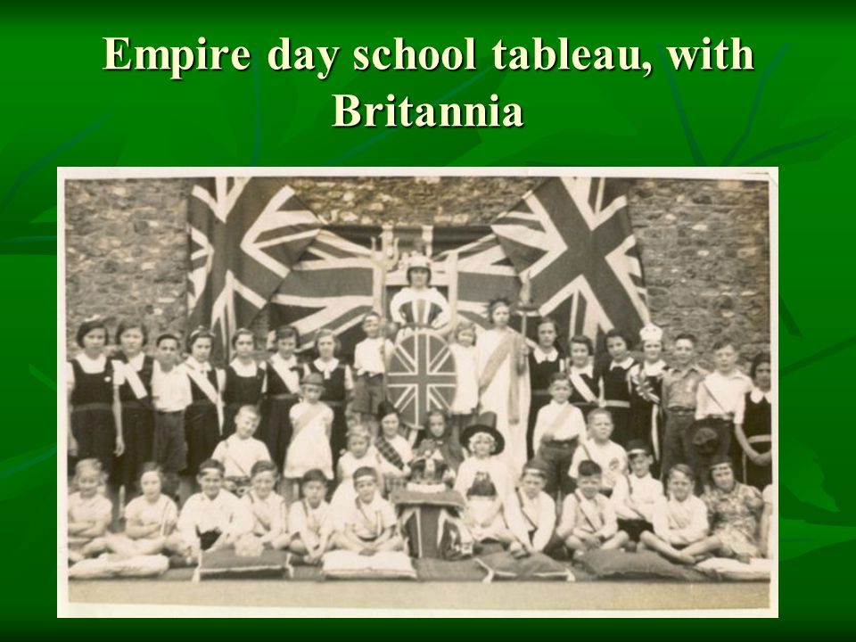 Empire day school tableau, with Britannia