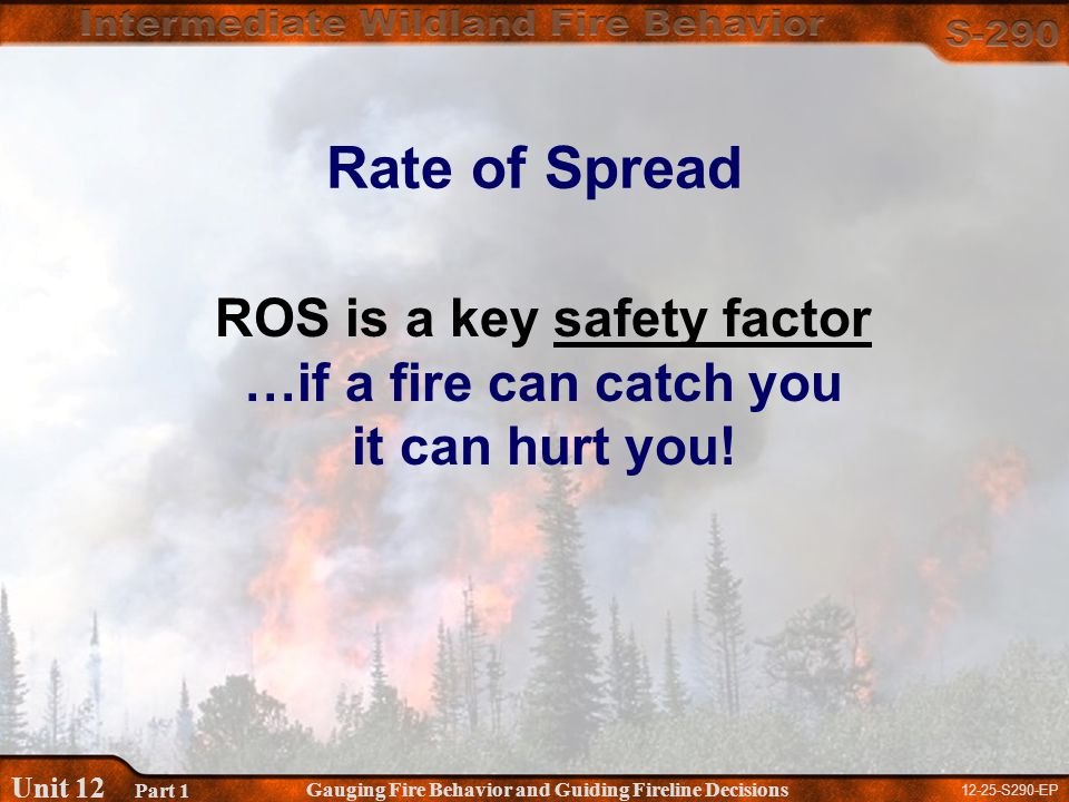 12-25-S290-EP Gauging Fire Behavior and Guiding Fireline Decisions Unit 12 Part 1 ROS is a key safety factor …if a fire can catch you it can hurt you.