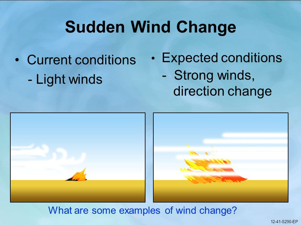 12-41-S290-EP Gauging Fire Behavior and Guiding Fireline Decisions Unit 12 Part 1 12-41-S290-EP Sudden Wind Change Current conditions - Light winds Expected conditions - Strong winds, direction change What are some examples of wind change.