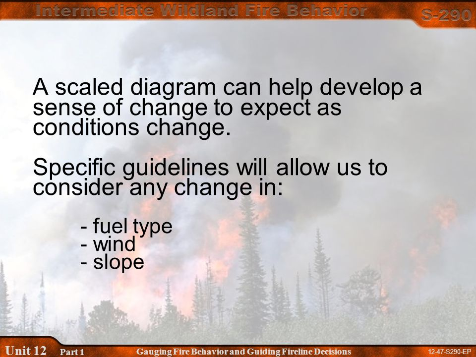 12-47-S290-EP Gauging Fire Behavior and Guiding Fireline Decisions Unit 12 Part 1 A scaled diagram can help develop a sense of change to expect as conditions change.