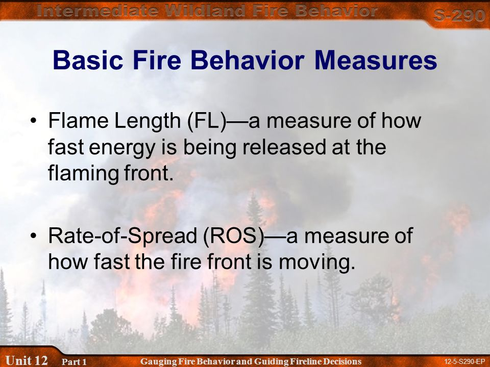 12-5-S290-EP Gauging Fire Behavior and Guiding Fireline Decisions Unit 12 Part 1 Basic Fire Behavior Measures Flame Length (FL)—a measure of how fast energy is being released at the flaming front.