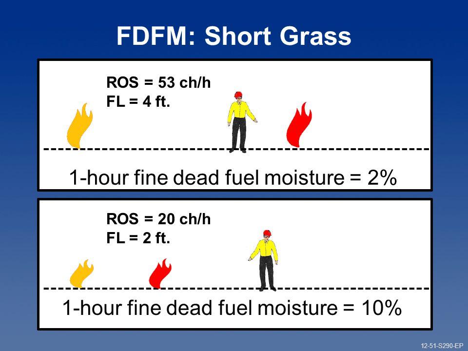 12-51-S290-EP Gauging Fire Behavior and Guiding Fireline Decisions Unit 12 Part 1 FDFM: Short Grass 1-hour fine dead fuel moisture = 2% ROS = 53 ch/h FL = 4 ft.