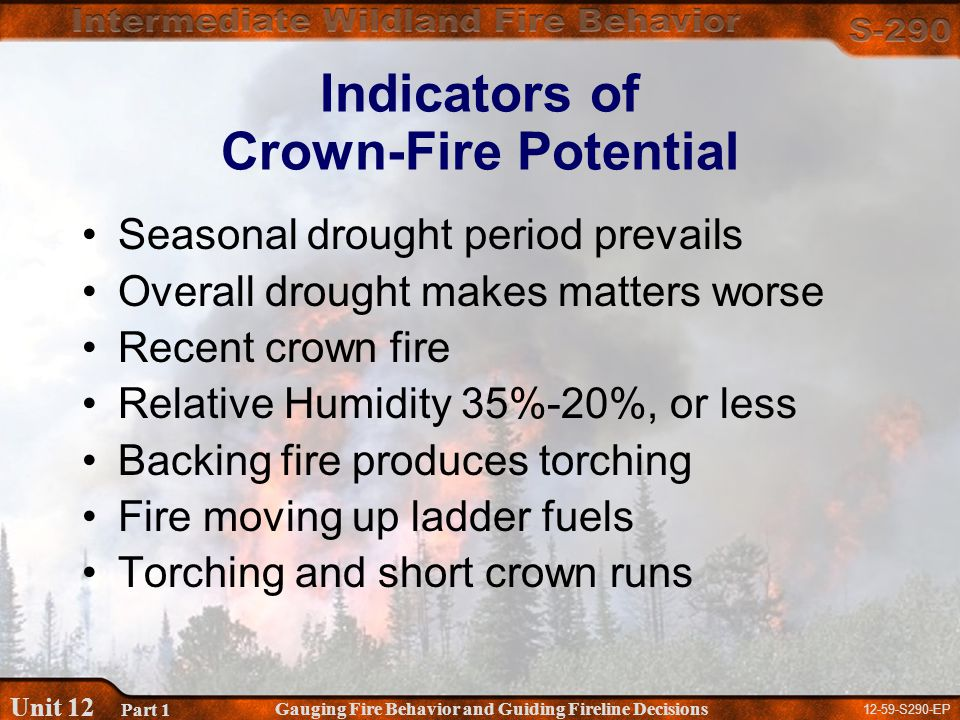 12-59-S290-EP Gauging Fire Behavior and Guiding Fireline Decisions Unit 12 Part 1 Indicators of Crown-Fire Potential Seasonal drought period prevails Overall drought makes matters worse Recent crown fire Relative Humidity 35%-20%, or less Backing fire produces torching Fire moving up ladder fuels Torching and short crown runs
