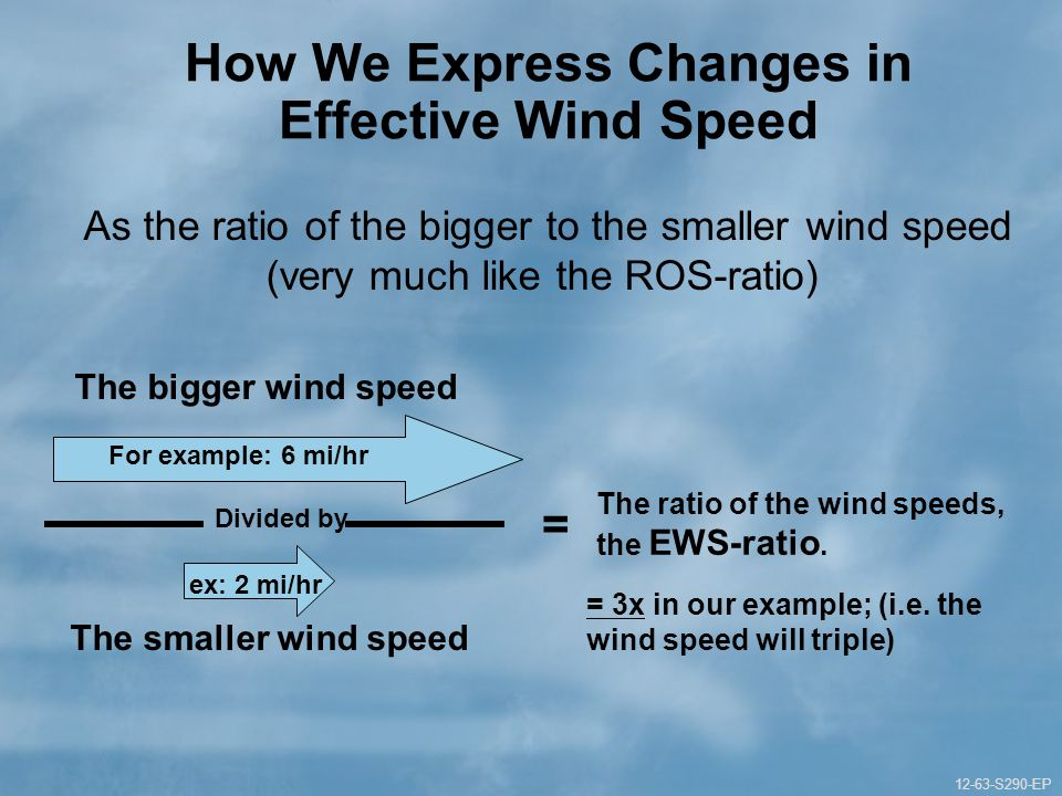 12-63-S290-EP Gauging Fire Behavior and Guiding Fireline Decisions Unit 12 Part 1 12-63-S290-EP How We Express Changes in Effective Wind Speed As the ratio of the bigger to the smaller wind speed (very much like the ROS-ratio) For example: 6 mi/hr The bigger wind speed ex: 2 mi/hr The smaller wind speed = 3x in our example; (i.e.
