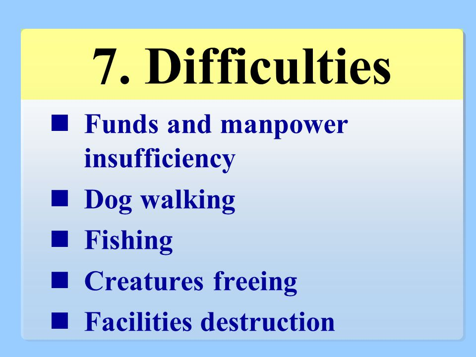Funds and manpower insufficiency Dog walking Fishing Creatures freeing Facilities destruction 7.