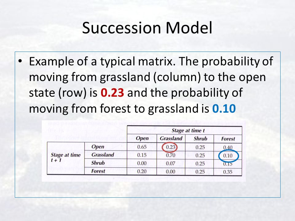 Succession Model Example of a typical matrix. The probability of moving from grassland (column) to the open state (row) is 0.23 and the probability of