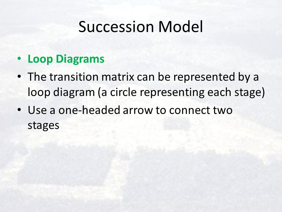 Succession Model Loop Diagrams The transition matrix can be represented by a loop diagram (a circle representing each stage) Use a one-headed arrow to