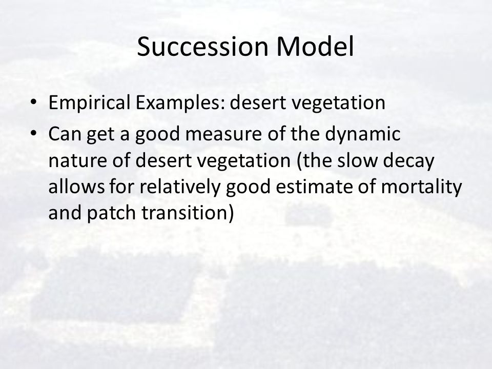 Succession Model Empirical Examples: desert vegetation Can get a good measure of the dynamic nature of desert vegetation (the slow decay allows for re