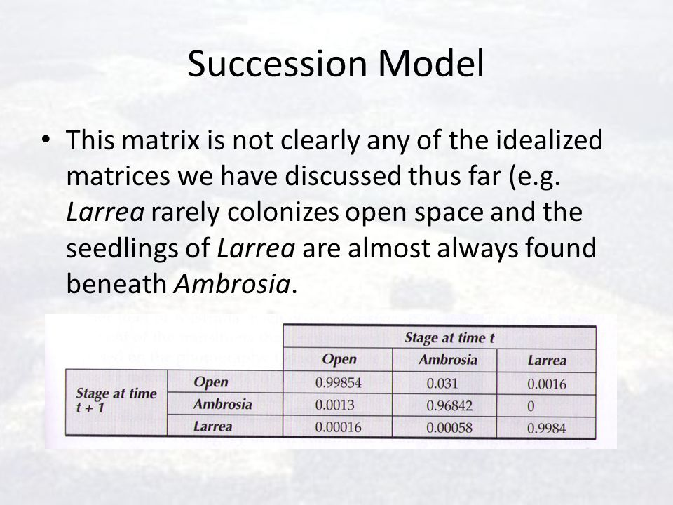 Succession Model This matrix is not clearly any of the idealized matrices we have discussed thus far (e.g. Larrea rarely colonizes open space and the