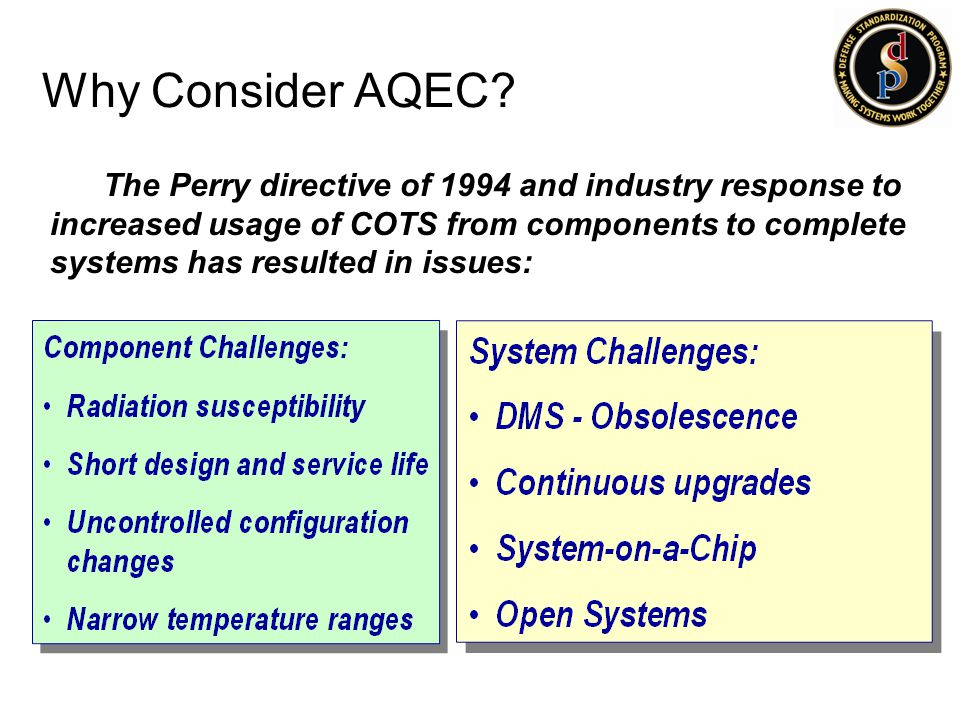 Why Consider AQEC? The Perry directive of 1994 and industry response to increased usage of COTS from components to complete systems has resulted in is