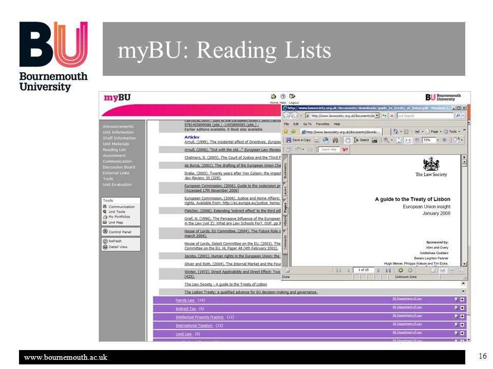 www.bournemouth.ac.uk 16 myBU: Reading Lists