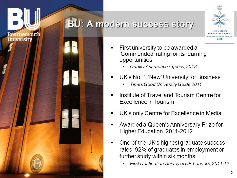 2 BU: A modern success story  First university to be awarded a 'Commended' rating for its learning opportunities.  Quality Assurance Agency, 2013 