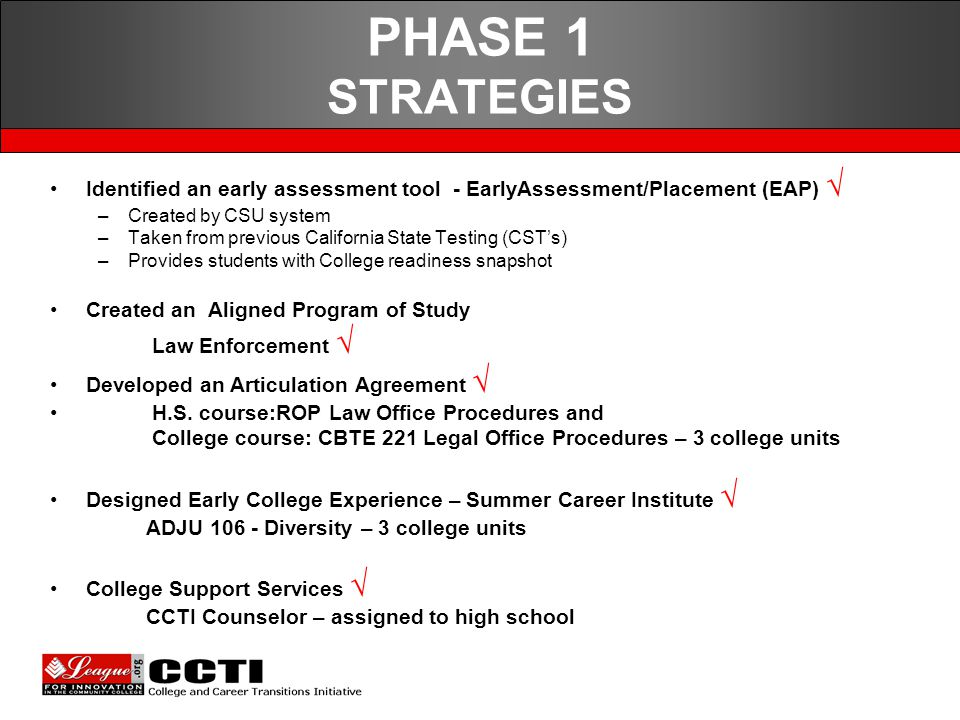 PHASE 1 STRATEGIES Identified an early assessment tool - EarlyAssessment/Placement (EAP) √ –Created by CSU system –Taken from previous California State Testing (CST's) –Provides students with College readiness snapshot Created an Aligned Program of Study Law Enforcement √ Developed an Articulation Agreement √ H.S.
