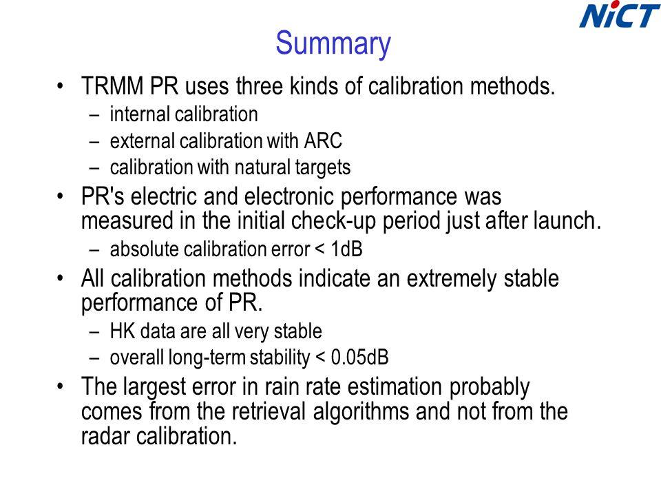 Summary TRMM PR uses three kinds of calibration methods. –internal calibration –external calibration with ARC –calibration with natural targets PR's e