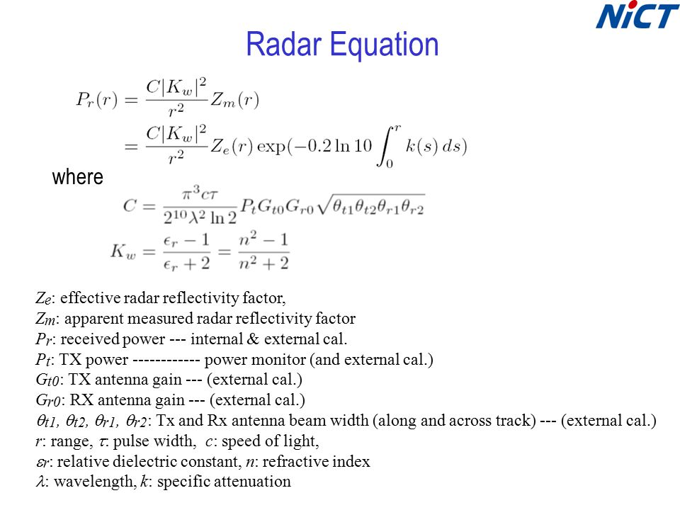 Hardware Calibration Calibrate the parameters in radar equation: –Pt: Tx power of SSPA monitored –Gt: Antenna gain for Tx, external cal.