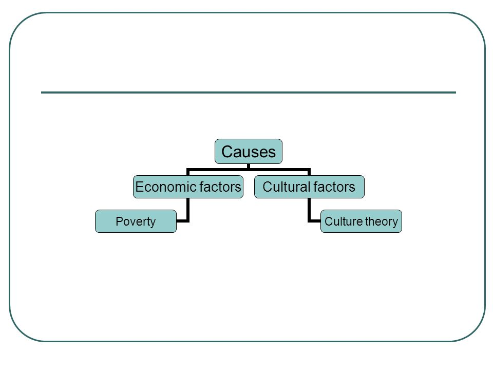 Causes Economic factors Poverty Cultural factors Culture theory