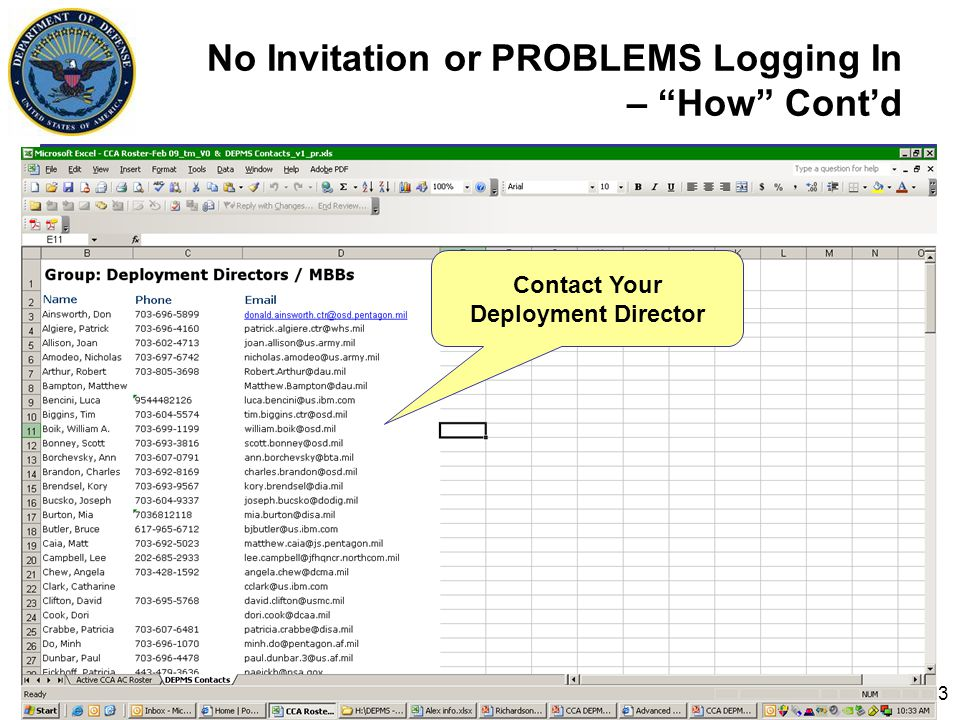 3 No Invitation or PROBLEMS Logging In – How Cont'd PLACE HOLDER Contact Your Deployment Director