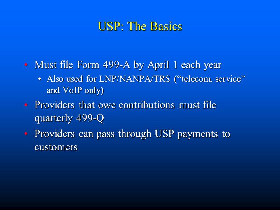 USP: The Basics Must file Form 499-A by April 1 each yearMust file Form 499-A by April 1 each year Also used for LNP/NANPA/TRS ( telecom.