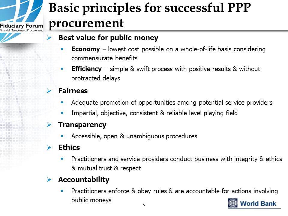 IEF, May 20055 Basic principles for successful PPP procurement  Best value for public money  Economy – lowest cost possible on a whole-of-life basis considering commensurate benefits  Efficiency – simple & swift process with positive results & without protracted delays  Fairness  Adequate promotion of opportunities among potential service providers  Impartial, objective, consistent & reliable level playing field  Transparency  Accessible, open & unambiguous procedures  Ethics  Practitioners and service providers conduct business with integrity & ethics & mutual trust & respect  Accountability  Practitioners enforce & obey rules & are accountable for actions involving public moneys