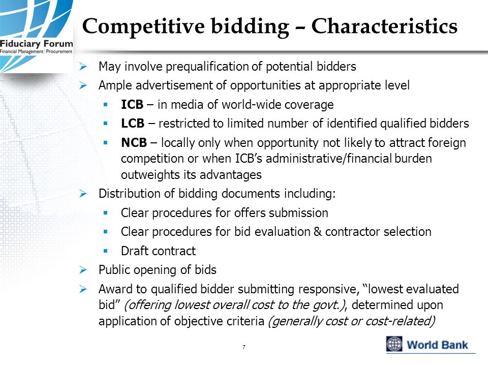 IEF, May 20058 Competitive bidding –Applicability  Could be used for all PPP options  Normally mandated by national rules for privatization & concession of existing infrastructure services & in some cases, for concession of new projects involving monopoly franchise