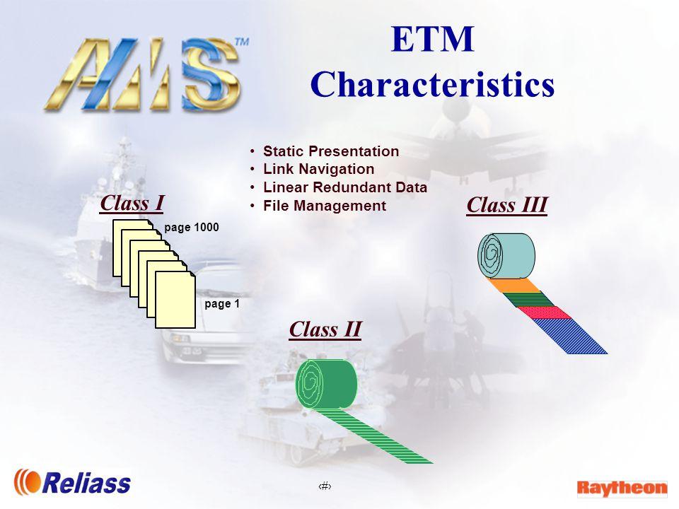 3 ETM Characteristics Class I Class II Class III Static Presentation Link Navigation Linear Redundant Data File Management page 1000 page 1