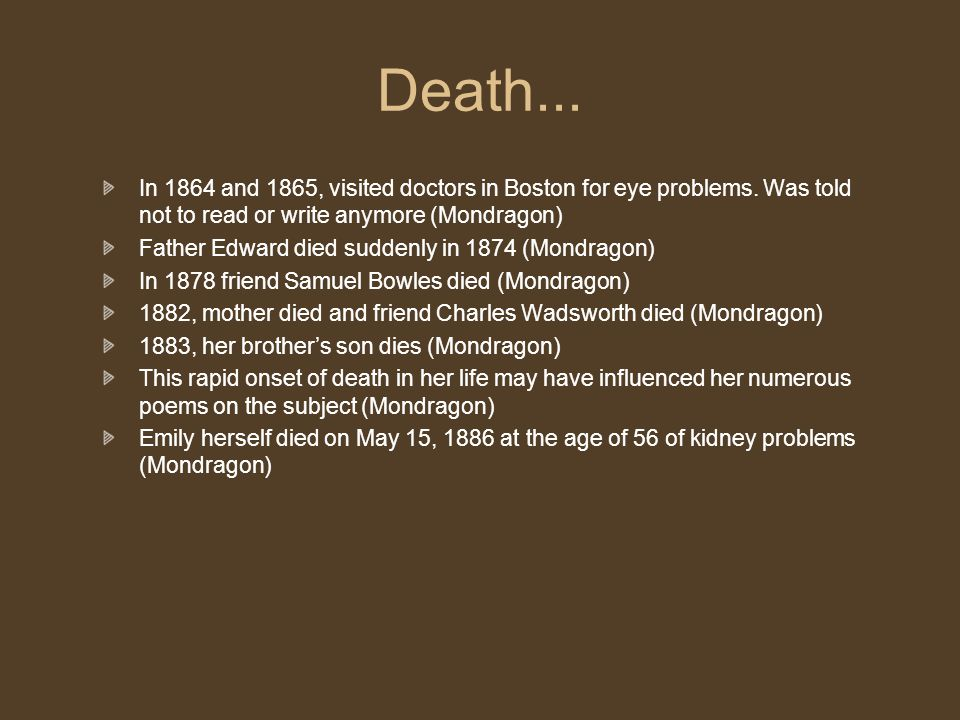 Death... In 1864 and 1865, visited doctors in Boston for eye problems.