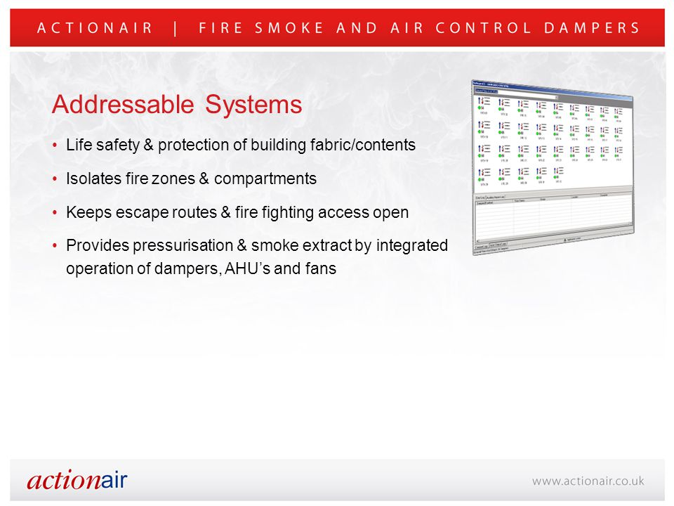 Life safety & protection of building fabric/contents Isolates fire zones & compartments Keeps escape routes & fire fighting access open Provides pressurisation & smoke extract by integrated operation of dampers, AHU's and fans Addressable Systems