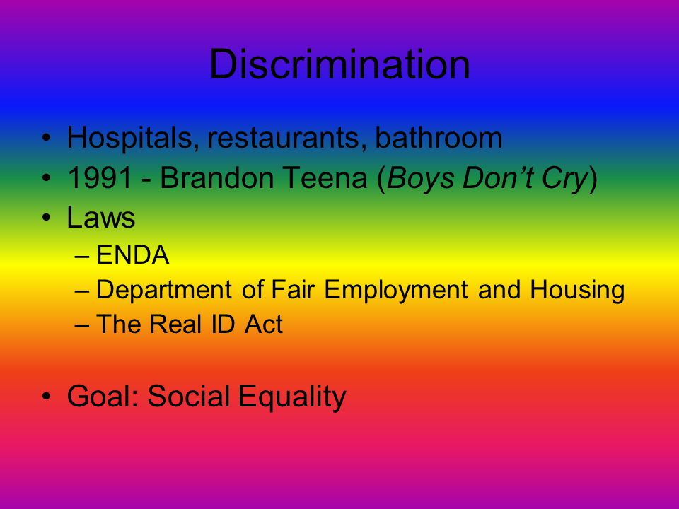 Discrimination Within the Movement Movement started out conservative Excluded butch lesbian, feminine gay men, transgender people, and bisexuals Event