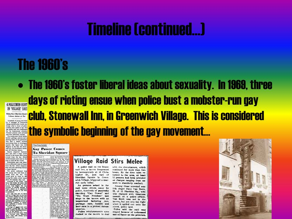 Timeline (continued…) The 1960's  The 1960's foster liberal ideas about sexuality.
