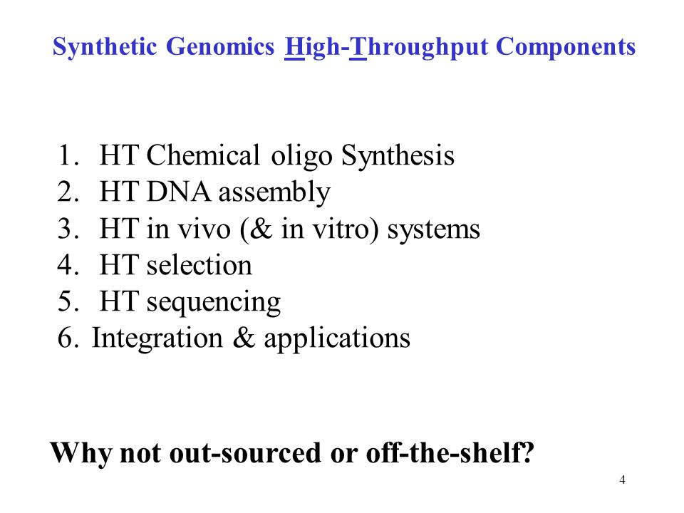 5 Chemical synthesis, enzymatic assembly: on/off chips 8K Xeotron Photo-Generated Acid 12K Combimatrix Electrolytic 120K Roche, Febit Photolabile 5 protection 244K Agilent Ink-jet standard reagents Tian et al.