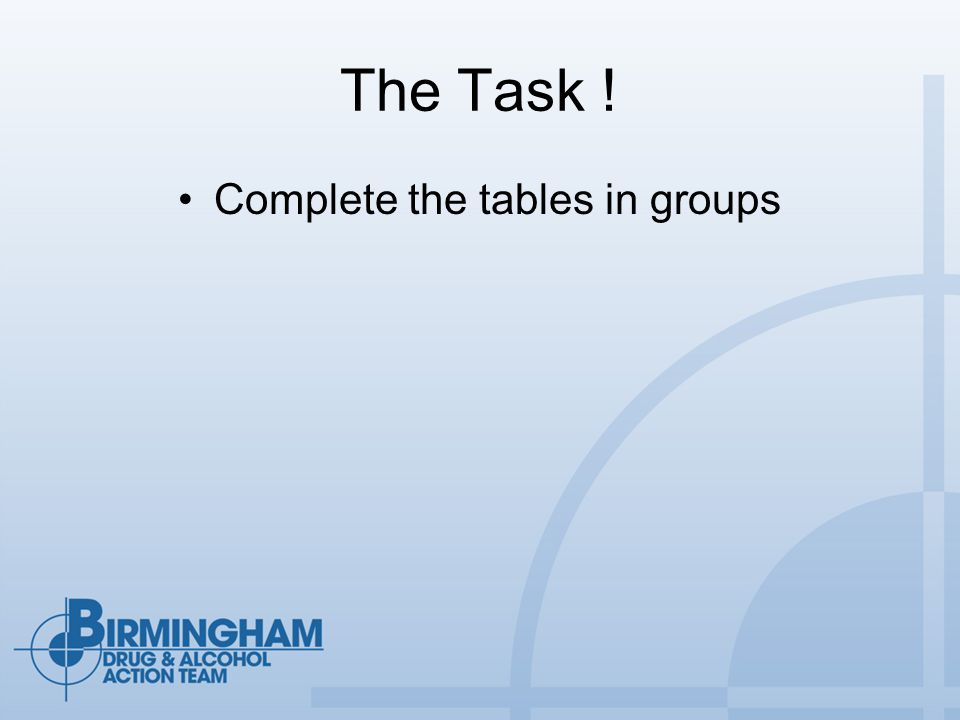 The Task ! Complete the tables in groups