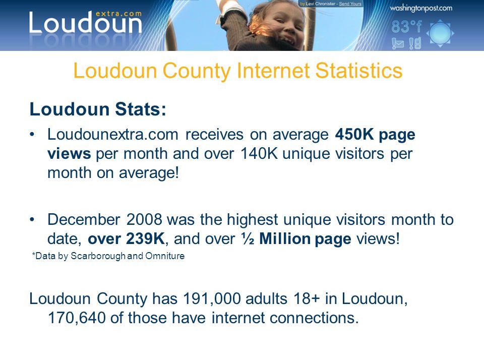 Loudoun County Internet Statistics Loudoun Stats: Loudounextra.com receives on average 450K page views per month and over 140K unique visitors per mon