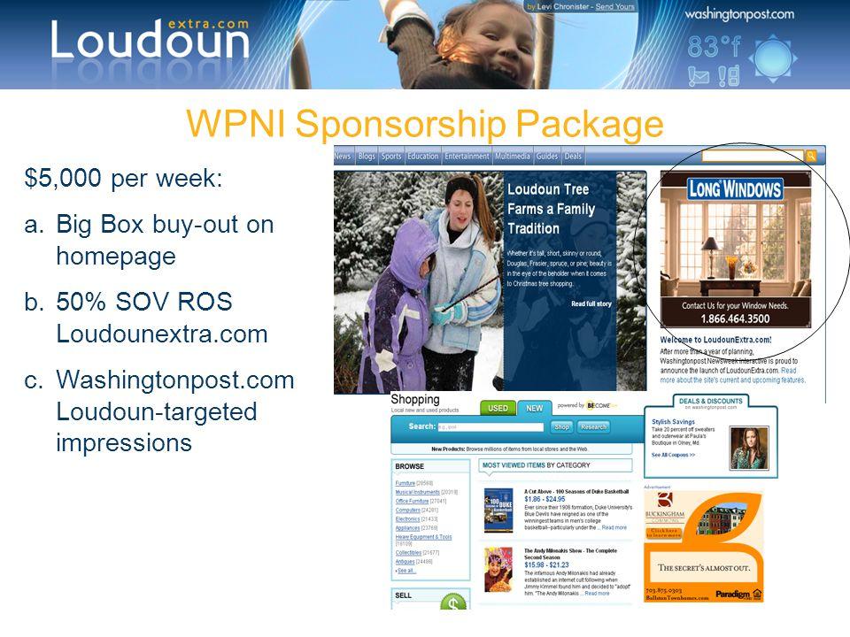 WPNI Sponsorship Package $5,000 per week: a.Big Box buy-out on homepage b.50% SOV ROS Loudounextra.com c.Washingtonpost.com Loudoun-targeted impressio