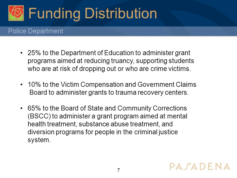 Police Department 7 Funding Distribution 25% to the Department of Education to administer grant programs aimed at reducing truancy, supporting students who are at risk of dropping out or who are crime victims.