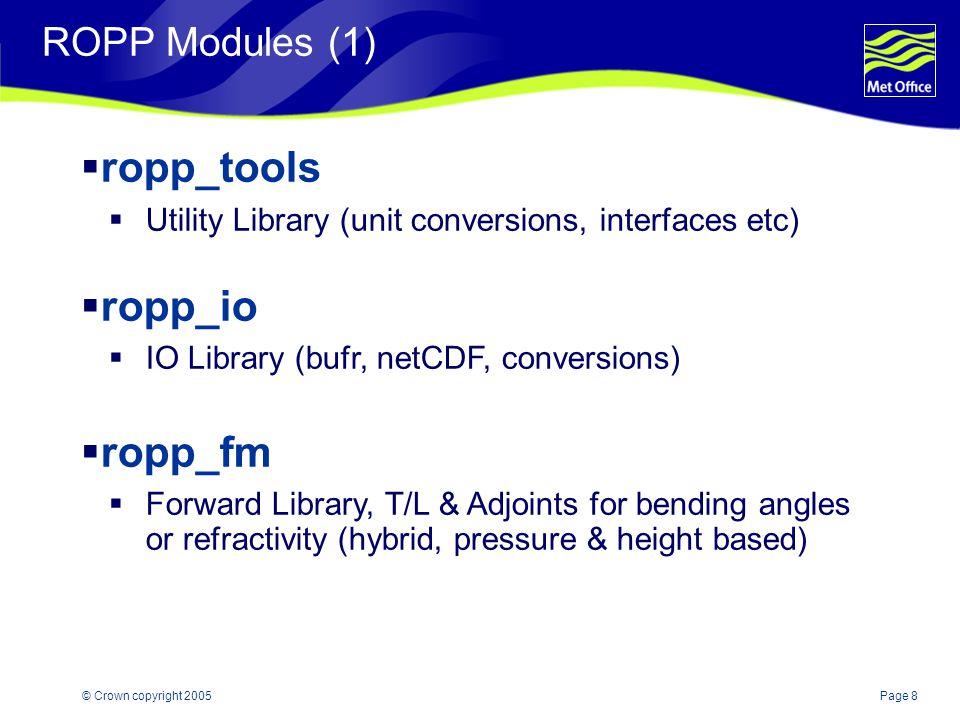 Page 9© Crown copyright 2005 ROPP Modules (2)  ropp_1dvar  1DVar Library (Minimiser, Q/C)  ropp_ug  User Guide