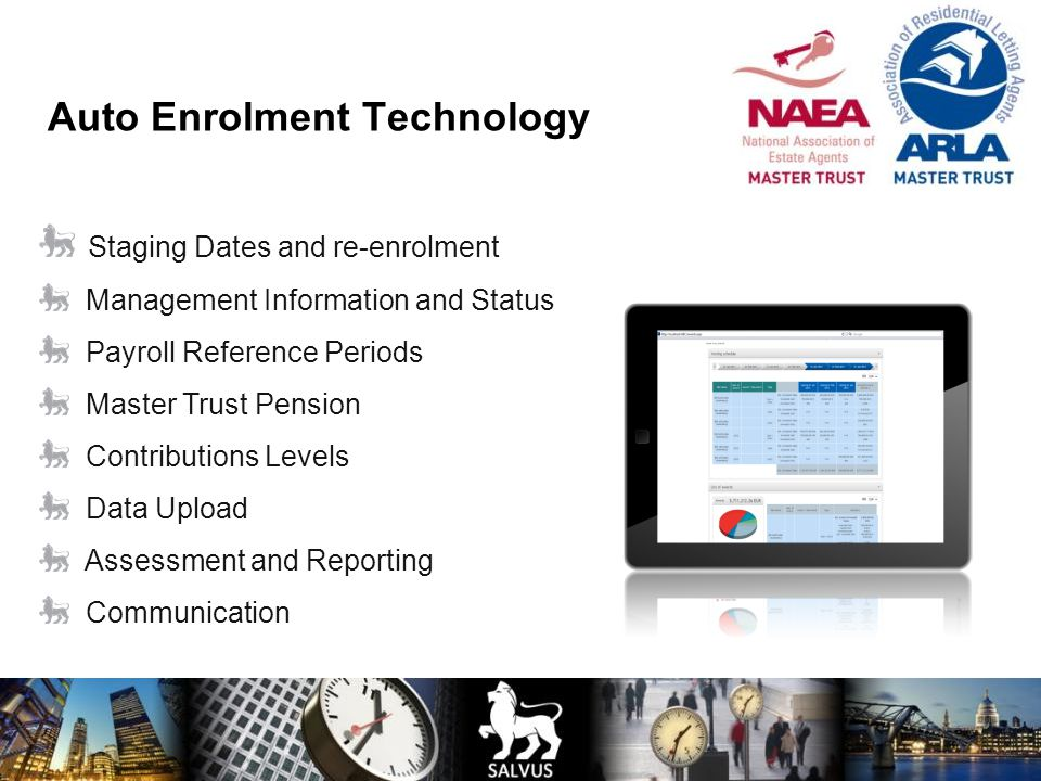 Staging Dates and re-enrolment Management Information and Status Payroll Reference Periods Master Trust Pension Contributions Levels Data Upload Asses