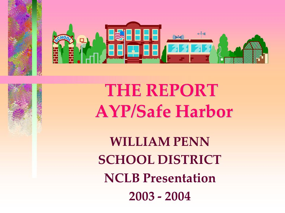 THE REPORT AYP/Safe Harbor WILLIAM PENN SCHOOL DISTRICT NCLB Presentation 2003 - 2004