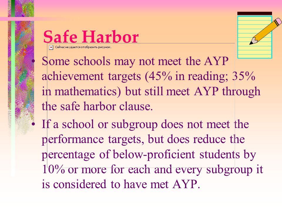 Safe Harbor Some schools may not meet the AYP achievement targets (45% in reading; 35% in mathematics) but still meet AYP through the safe harbor clause.