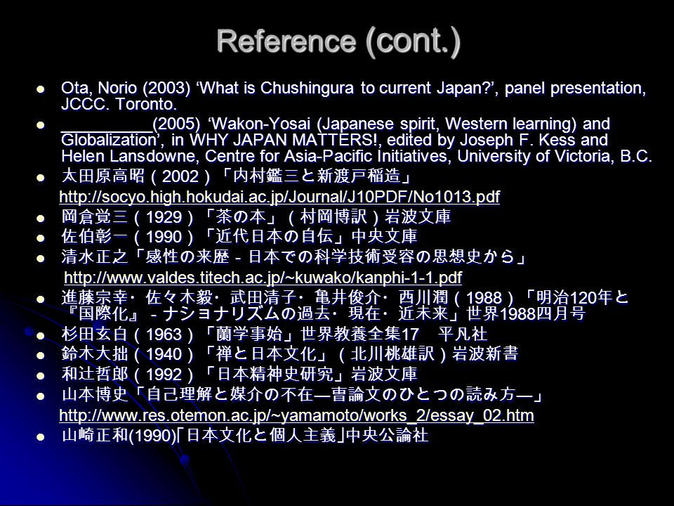 Reference (cont.) Ota, Norio (2003) 'What is Chushingura to current Japan?', panel presentation, JCCC. Toronto. Ota, Norio (2003) 'What is Chushingura