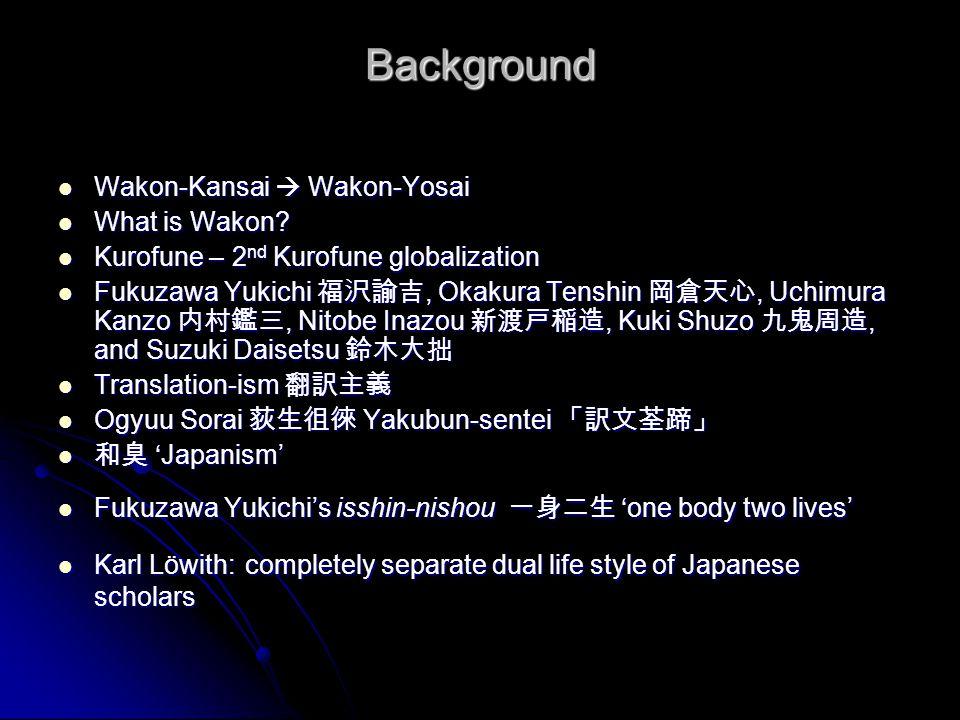 Background Wakon-Kansai  Wakon-Yosai Wakon-Kansai  Wakon-Yosai What is Wakon? What is Wakon? Kurofune – 2 nd Kurofune globalization Kurofune – 2 nd
