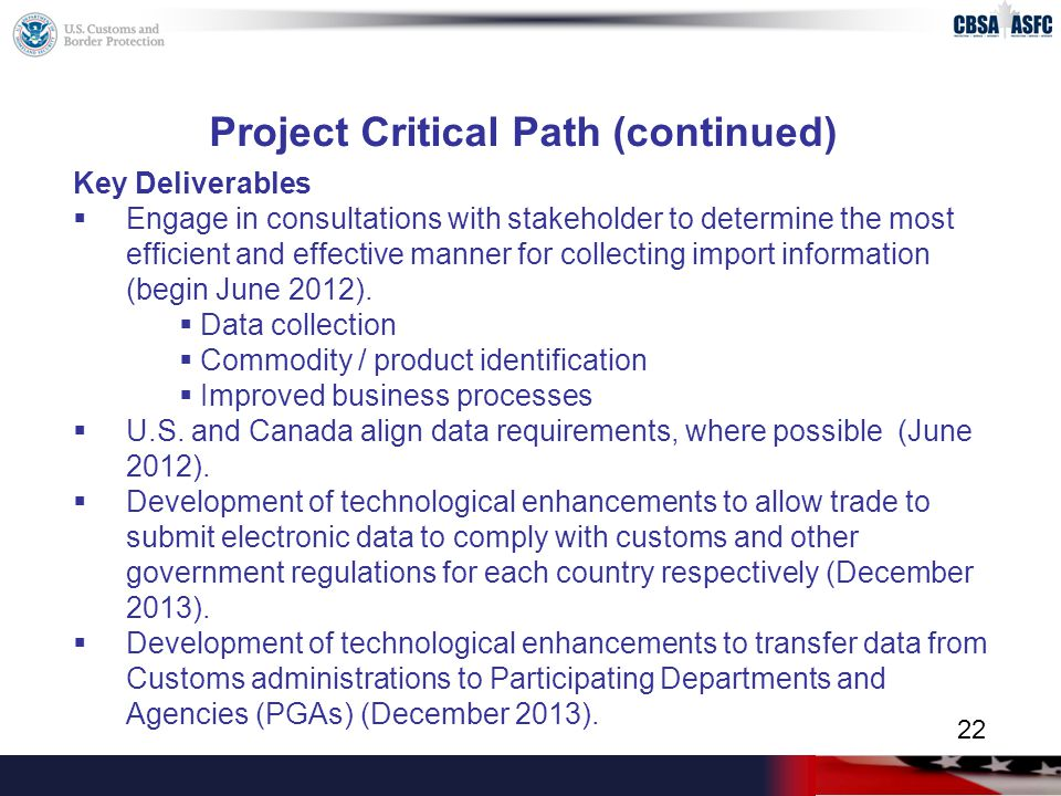 Project Critical Path (continued) Key Deliverables  Engage in consultations with stakeholder to determine the most efficient and effective manner for collecting import information (begin June 2012).