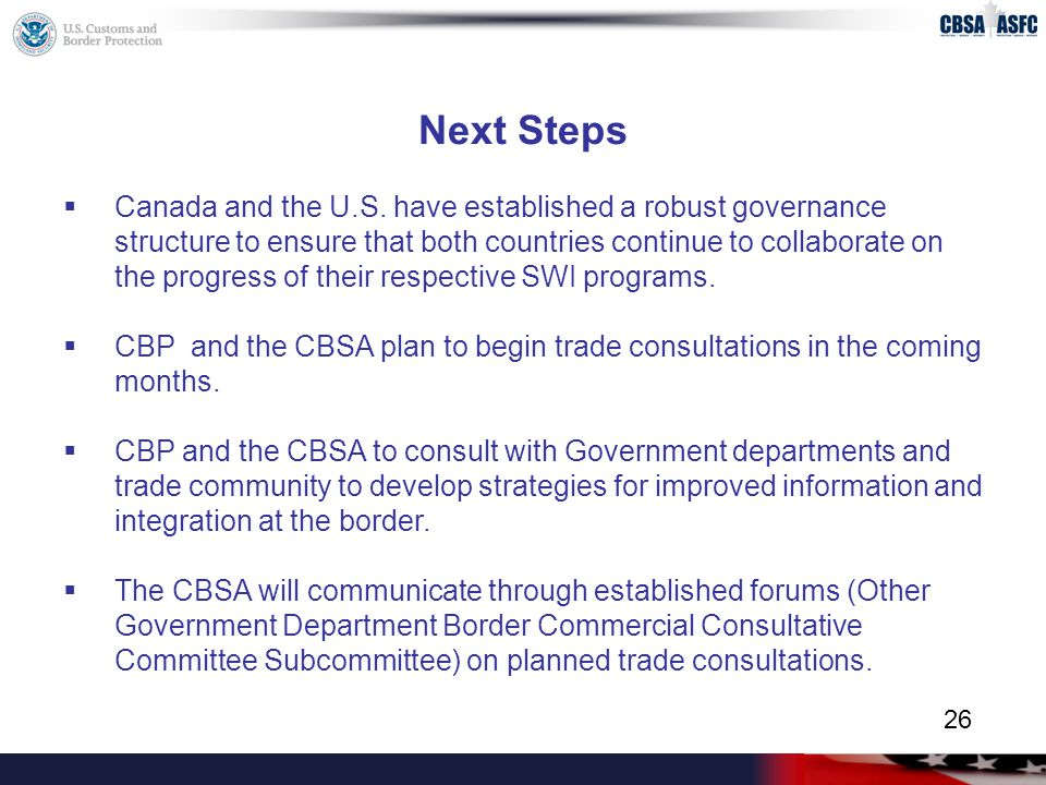Next Steps  Canada and the U.S.