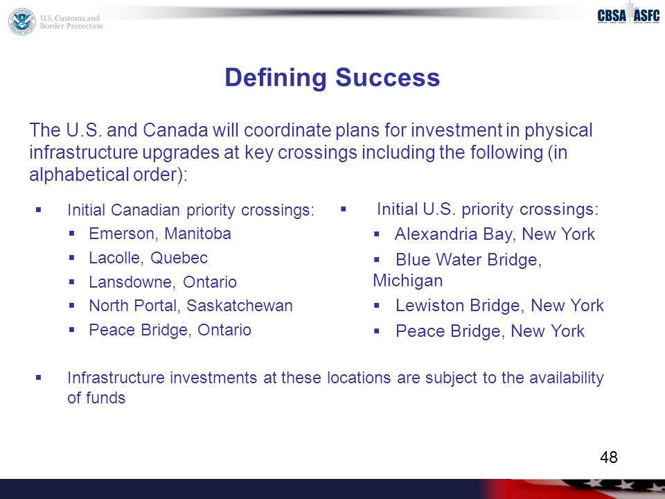 Defining Success  Initial Canadian priority crossings:  Emerson, Manitoba  Lacolle, Quebec  Lansdowne, Ontario  North Portal, Saskatchewan  Peace Bridge, Ontario  Infrastructure investments at these locations are subject to the availability of funds  Initial U.S.