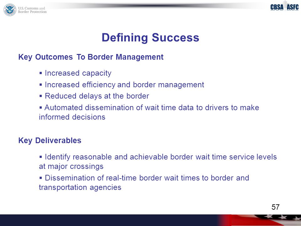 Defining Success Key Outcomes To Border Management  Increased capacity  Increased efficiency and border management  Reduced delays at the border  Automated dissemination of wait time data to drivers to make informed decisions Key Deliverables  Identify reasonable and achievable border wait time service levels at major crossings  Dissemination of real-time border wait times to border and transportation agencies 57