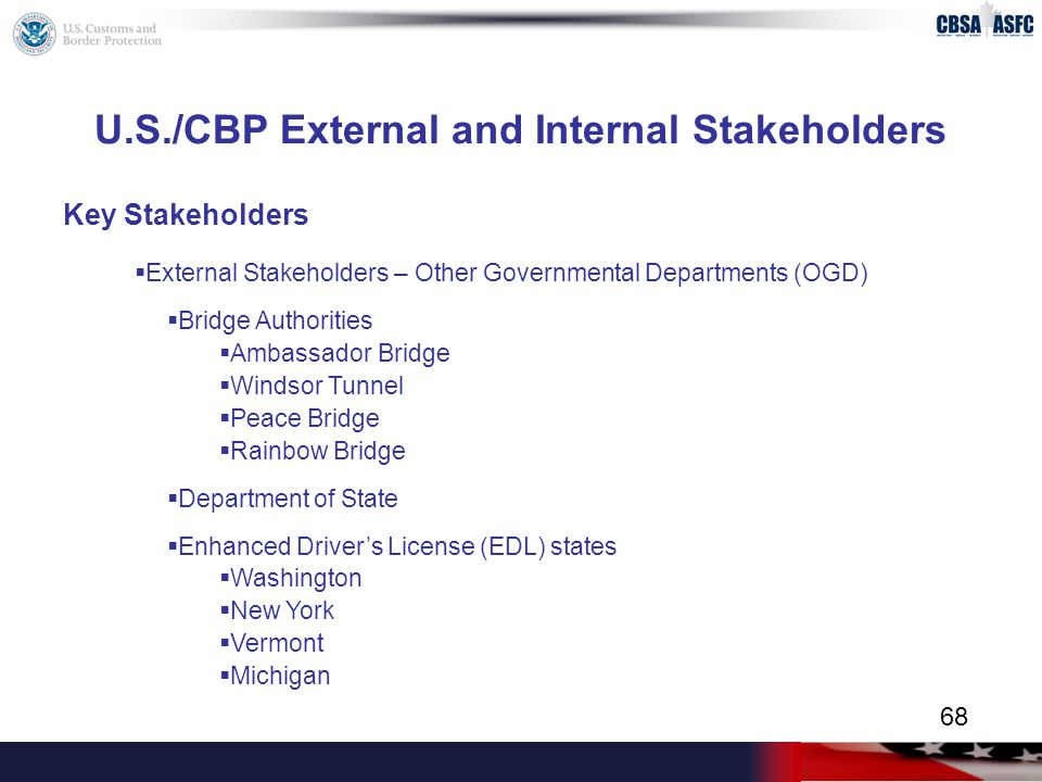 U.S./CBP External and Internal Stakeholders Key Stakeholders  External Stakeholders – Other Governmental Departments (OGD)  Bridge Authorities  Ambassador Bridge  Windsor Tunnel  Peace Bridge  Rainbow Bridge  Department of State  Enhanced Driver's License (EDL) states  Washington  New York  Vermont  Michigan 68