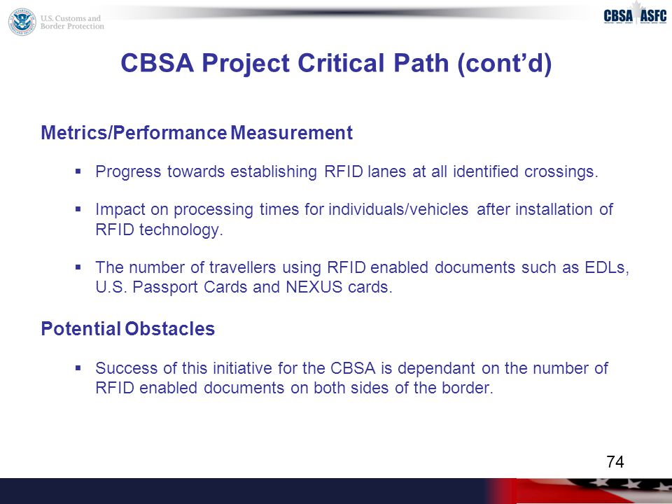 CBSA Project Critical Path (cont'd) Metrics/Performance Measurement  Progress towards establishing RFID lanes at all identified crossings.