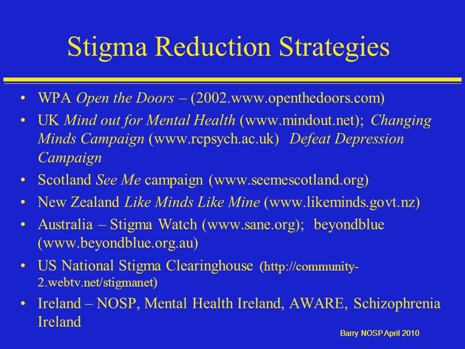 Barry NOSP April 2010 Stigma Reduction Strategies WPA Open the Doors – (2002.www.openthedoors.com) UK Mind out for Mental Health (www.mindout.net); Changing Minds Campaign (www.rcpsych.ac.uk) Defeat Depression Campaign Scotland See Me campaign (www.seemescotland.org) New Zealand Like Minds Like Mine (www.likeminds.govt.nz) Australia – Stigma Watch (www.sane.org); beyondblue (www.beyondblue.org.au) US National Stigma Clearinghouse (http://community- 2.webtv.net/stigmanet) Ireland – NOSP, Mental Health Ireland, AWARE, Schizophrenia Ireland