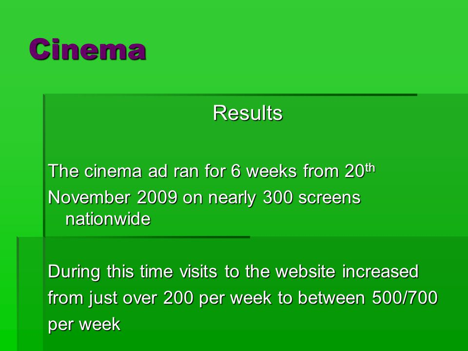 Cinema Results The cinema ad ran for 6 weeks from 20 th November 2009 on nearly 300 screens nationwide During this time visits to the website increased from just over 200 per week to between 500/700 per week