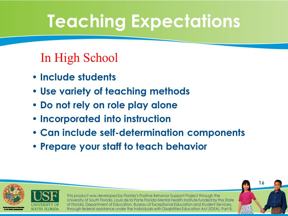 16 Teaching Expectations Include students Use variety of teaching methods Do not rely on role play alone Incorporated into instruction Can include self-determination components Prepare your staff to teach behavior In High School